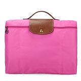 Longchamp 短提把(拉鍊式)手提公事包-桃紅色