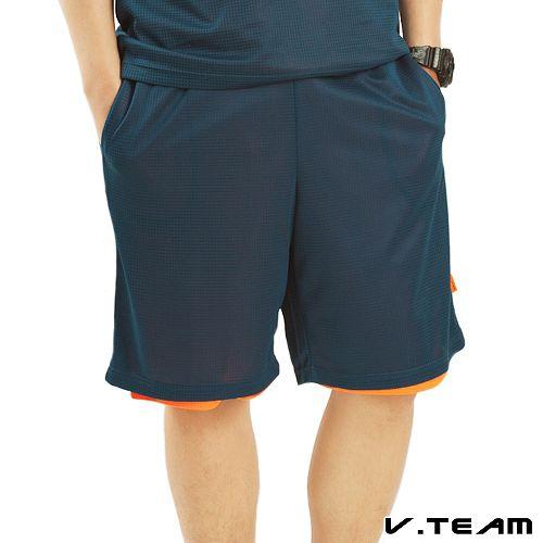【V.TEAM】雙面穿吸排籃球褲-男(灰藍色)
