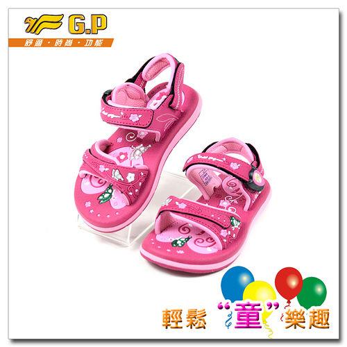 【G.P】女孩夢幻設計款涼鞋 G5965B-45 (桃紅色) SIZE:26~30 共三色
