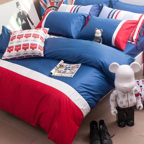 OLIVIA 《 英式素色簡約風 MOD8 英國藍X白X紅 》雙人床包枕套三件組