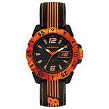 New Balance 504系列 運動休閒尼龍帆布帶腕錶-橘黑/45mm