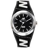 New Balance 574系列 NB LOGO皮革時尚腕錶-黑銀/43mm