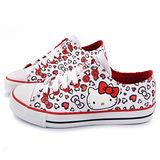 TEENS-Hello Kitty 女款 滿版圖鴉風帆布鞋915031-白