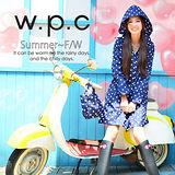 【w.p.c.】顯瘦修長款。時尚雨衣/風衣(R1005)-深藍點點