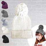 日系大毛球反折針織保暖毛帽 (白色)