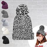 日系大毛球反折針織保暖毛帽 (黑白)