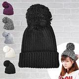 日系大毛球反折針織保暖毛帽 (黑色)