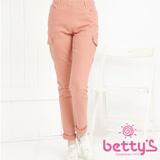 betty's貝蒂思  彈性佳側口袋鈕扣內搭褲(淺粉)