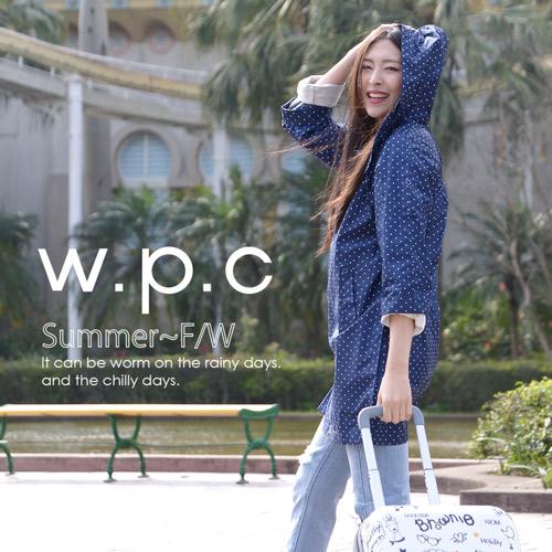 【w.p.c.】2 way袖子可折。時尚雨衣/ 風衣(R9001)_深藍點點