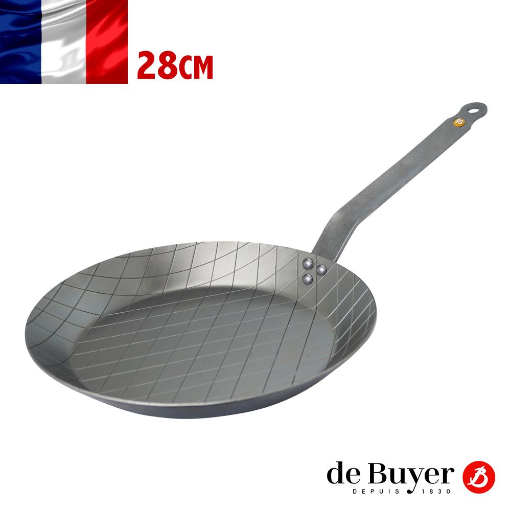 法國【de Buyer】畢耶鍋具『原礦蜂蠟系列』格紋牛排鍋28cm