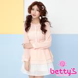betty's貝蒂思 蕾絲立領收腰雪紡上衣(粉色)
