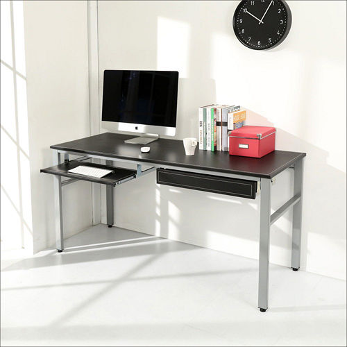 《BuyJM》低甲醛仿馬鞍皮面160公分附鍵盤抽屜穩重工作桌