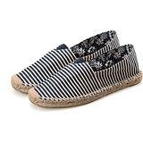 《JOYCE》百搭條紋款深色歐美外銷草編休閒帆布鞋