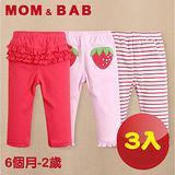 (購物車)【MOM AND BAB】紅紅草莓純棉休閒長褲(三件組)(6M~24M)