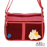ABS貝斯貓 Smile Cat 小型多格層拼布肩背包 斜背包 (大喜紅) 88-105