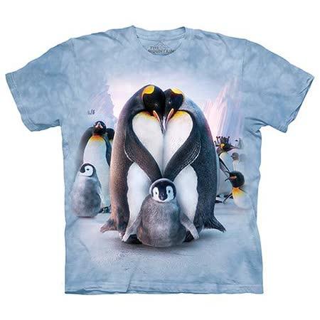 【摩達客】(預購) 美國進口The Mountain 企鵝家族 純棉環保短袖T恤
