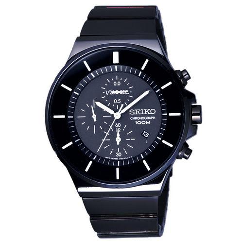 SEIKO 雙層環繞三眼時尚腕錶-黑