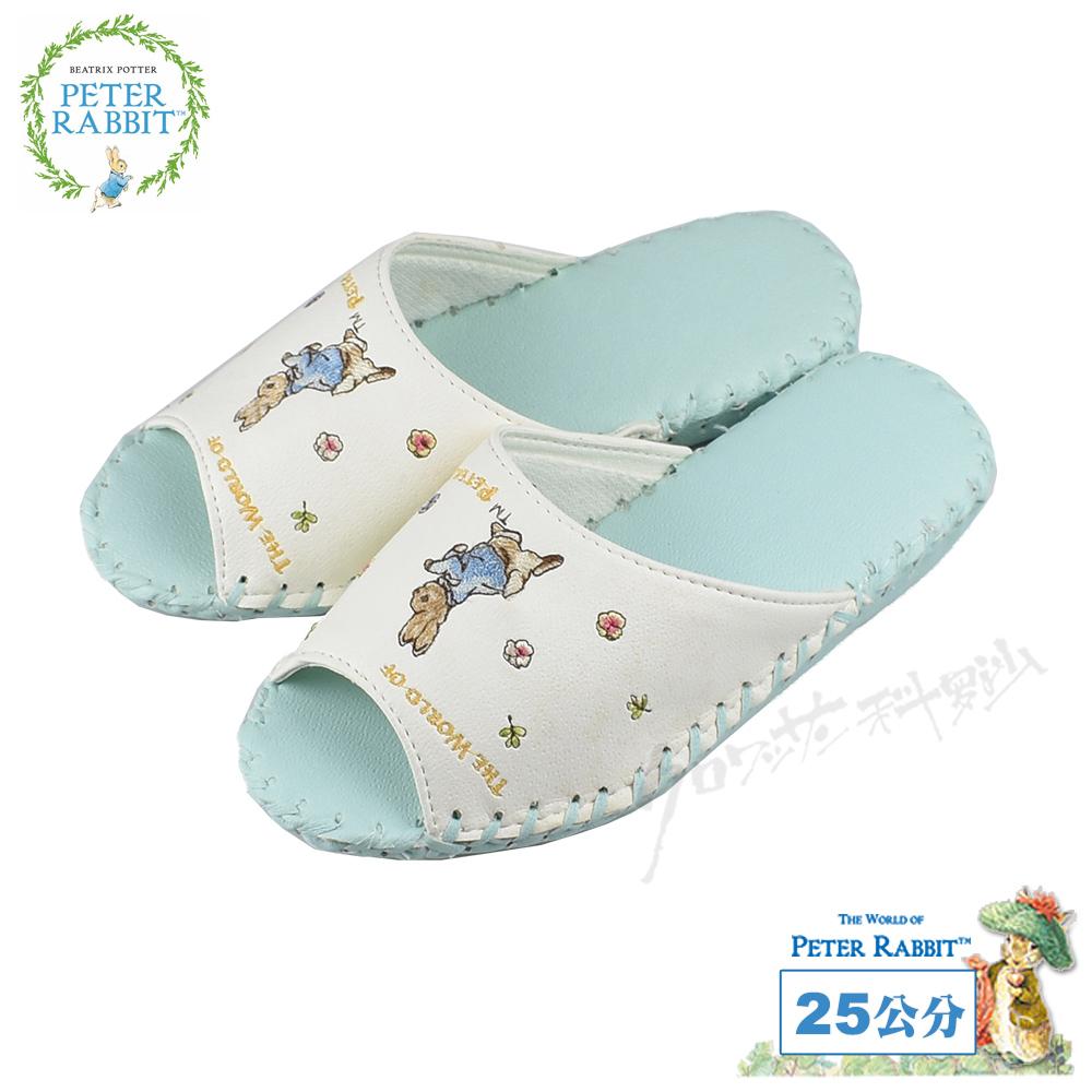 【クロワッサン科羅沙】Peter Rabbit 室內鞋 小花皮拖藍 24CM