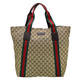 GUCCI經典綠紅綠織帶系列直立式購物包(咖啡)