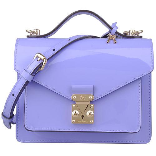 LV M90113 漆皮扣式手提 斜背小方包 淡紫