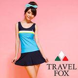 【TRAVELFOX 旅狐】運動風長版二件式泳衣C14727