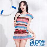 【SUMMERLOVE 夏之戀】南洋風情連身裙三件式泳衣S15721-F