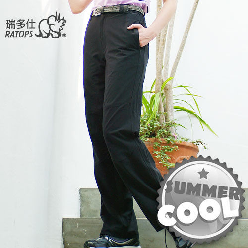 【RATOPS】女款 彈性快乾休閒長褲.輕薄、強韌、舒適、耐磨/ 黑色 DA3178 B