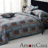 【AmoreCasa】紳士品格 玫瑰絨雙人四件式被套床包組