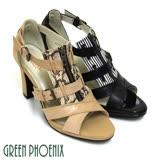 【GREEN PHOENIX 波兒德】BIS-VITAL時尚美艷動物紋仿舊拉鍊義大利進口小牛皮粗高跟涼鞋