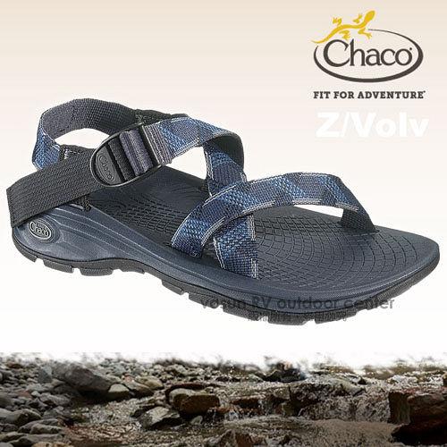 【美國 Chaco】新款 男 Z/Volv 冒險旅遊運動涼鞋-標準款/海灘鞋.耐磨.排流.止滑.溯溪/CH-EZM01-HB56 跳躍藍