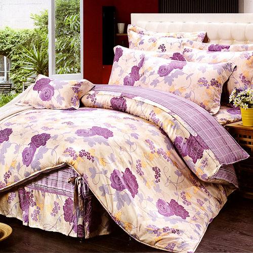 《KOSNEY 塊麗紫玫瑰》加大100%天絲TENCEL四件式兩用被床包組