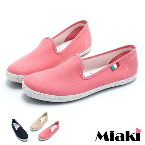 (現貨+預購)【Miaki】MIT 休閒鞋日韓帆布平底懶人包鞋 (卡其色/粉色/藍色)