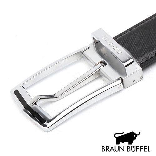 BRAUN BUFFEL 格紋帶身穿針式皮帶 BF15B-008-NK