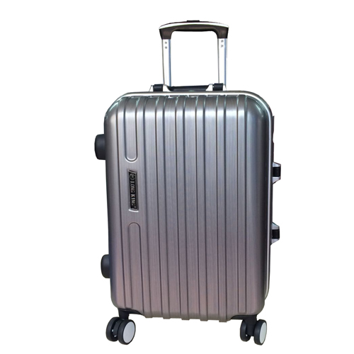 LONG KING 24吋PC鏡面硬殼鋁框行李箱-銀灰