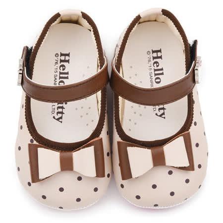 童鞋城堡-Hello kitty 小童 蝴蝶結寶寶學步鞋 715930-米