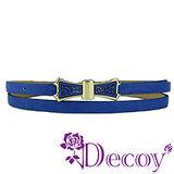 【Decoy】雕花蝴蝶結*典雅細皮帶/藍