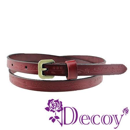 【Decoy】花草元素*真牛皮腰帶/紅