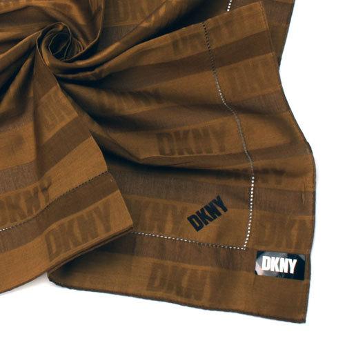 DKNY 橫條紋LOGO紳士帕領巾-橄欖棕