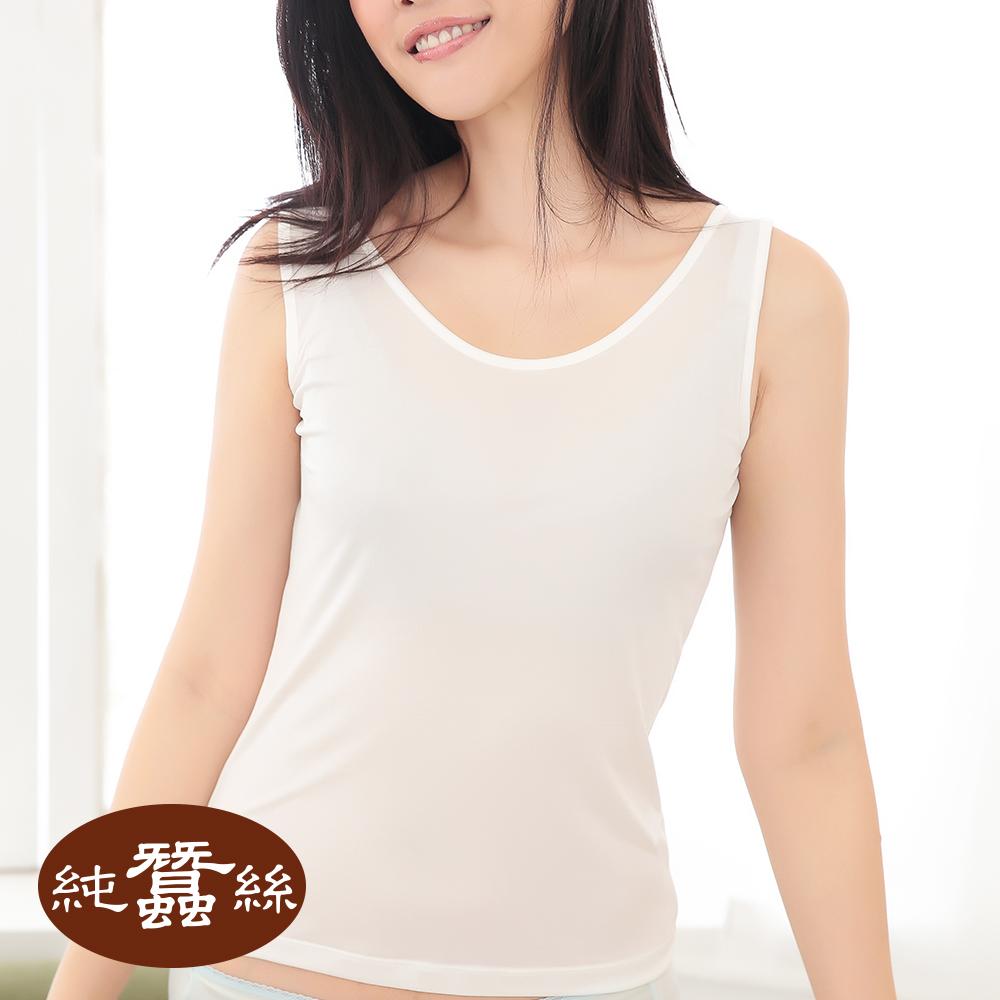 【岱妮蠶絲】6C1010E純蠶絲42針70G輕柔內搭背心 (白)