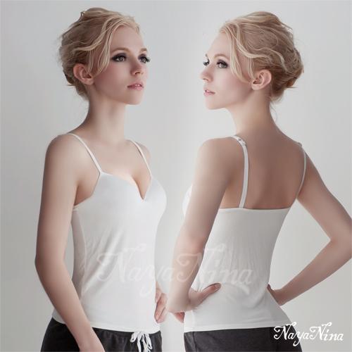 【Naya Nina】Bra Top細肩帶無鋼圈罩杯內搭背心(白色M-L)