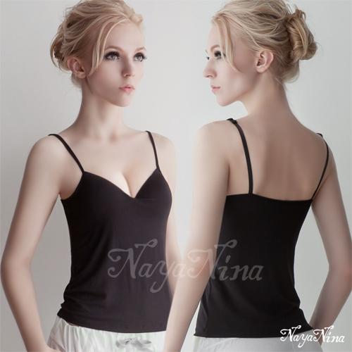 【Naya Nina】Bra Top細肩帶無鋼圈罩杯內搭背心(黑色M-L)