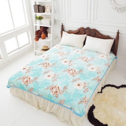 格藍寢飾-雪貂絨超柔毯-碧色牡丹