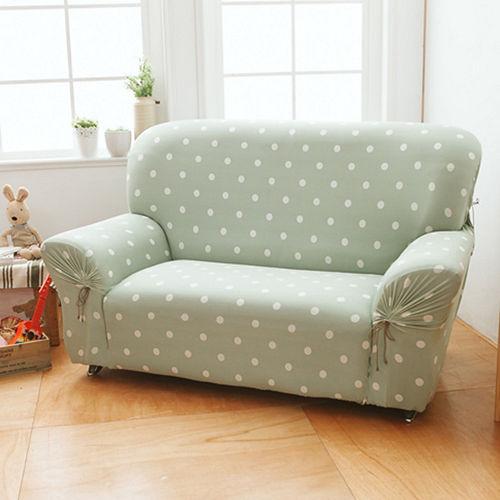 格藍傢飾-雪花甜心涼感彈性沙發套2人座-抹茶綠
