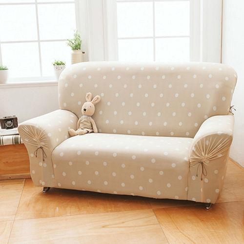格藍傢飾-雪花甜心涼感彈性沙發套1+2+3人座-焦糖駝