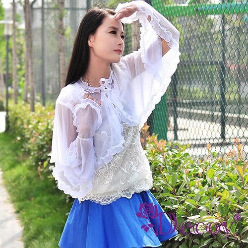 【Decoy】艷夏防曬*蕾絲透膚披肩袖套/四色可選