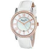 Kenneth Cole 光輝年華時尚氣質腕錶-玫瑰金x白色皮帶