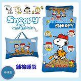 《SNOOPY》史努比棒球篇舖棉冬夏二用幼教兒童睡袋-粉藍(4尺*5尺)