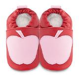 英國 shooshoos 安全無毒真皮手工鞋/學步鞋/嬰兒鞋 粉紅蘋果(公司貨)