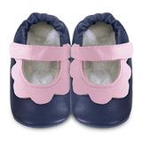 英國 shooshoos 安全無毒真皮手工鞋/學步鞋/嬰兒鞋 海軍藍/粉荷葉(公司貨)