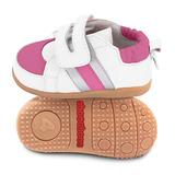 英國 shooshoos 健康無毒真皮手工學步鞋/童鞋 白/銀桃紅條紋童鞋(公司貨)